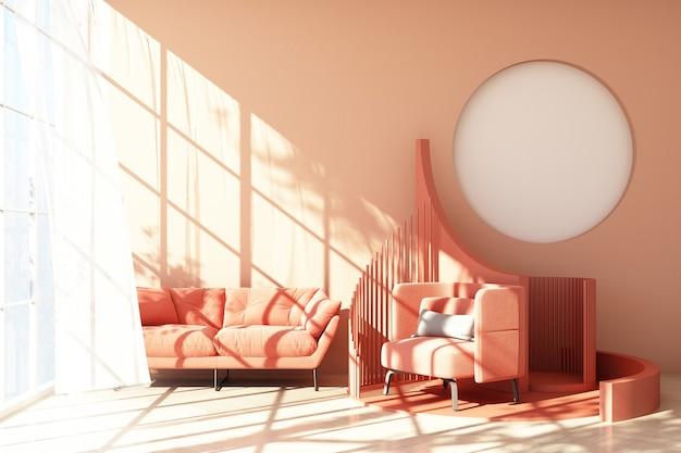 Mock up pink abstract studio fashion minimal forma geometrica trend con poltrona rosa e divano sulla piattaforma del podio con luce solare e pura. rendering 3d