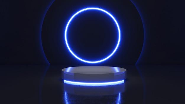 Mock up podio per la presentazione del prodotto, rendering 3d, sfondo di luce al neon piedistallo cerchio mock-up
