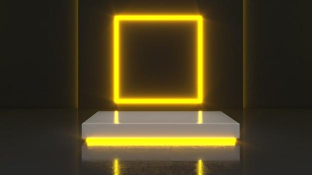 Mock up podio per la presentazione del prodotto, rendering 3d, sfondo di luce al neon con plinto quadrato mock-up