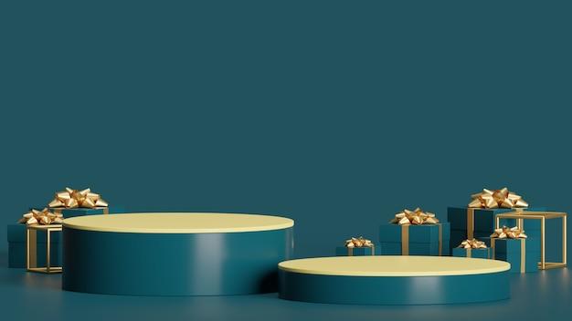 Mock up podio per la presentazione del prodotto astratto concetto minimo natale e capodanno