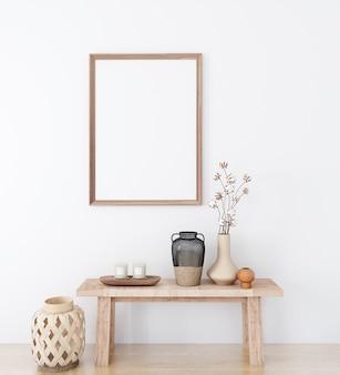 Mock up poster in stile boho e cornice in legno