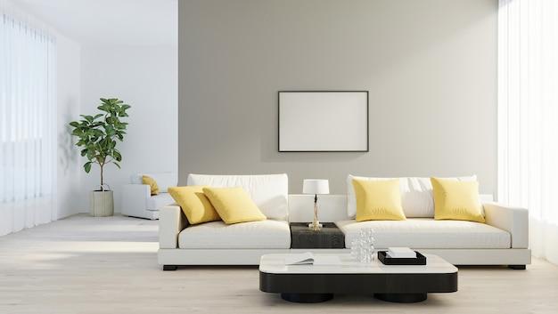 Mock up frame poster in luminoso soggiorno moderno con divano bianco, lampada e pianta verde su laminato di legno. stile scandinavo, sfondo interno accogliente. modello luminoso ed elegante della stanza. rendering 3d