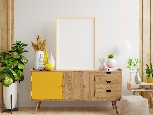 Mock up poster frame su cabinet in interior.3d rendering