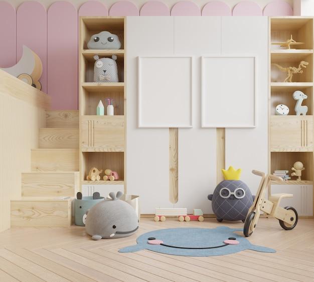 Mock up frame poster in camera dei bambini, camera dei bambini, mockup della scuola materna