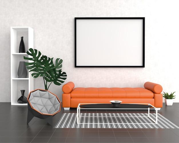 Mock up poster frame in interni moderni sfondo, soggiorno, stile home office, rendering 3d, illustrazione 3d