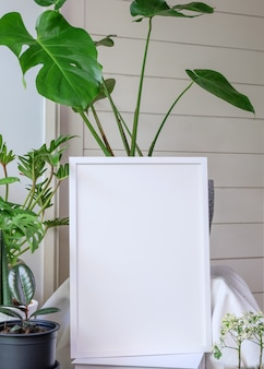 Mock up poster cornice in legno e gigantesca pianta botanica tropicale monstera in bellissimo vaso di cemento su tavolo in legno in soggiorno moderno elegante con parete bianca