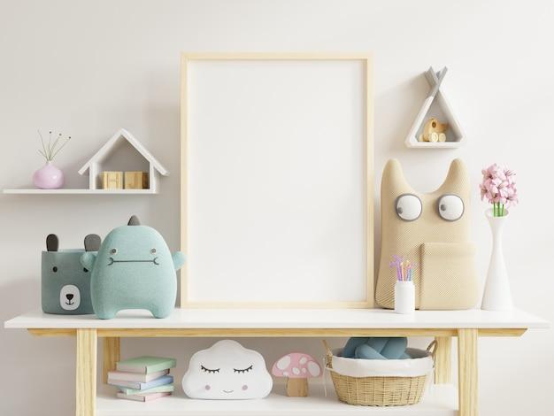 Mock up poster nell'interno della stanza del bambino, poster su sfondo bianco muro vuoto.