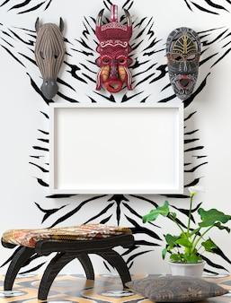 Mock up interno tribale. sedia in legno con morbido cuscino colorato