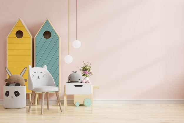 Mock up muro nella stanza dei bambini in colore rosa chiaro sfondo .3d rendering