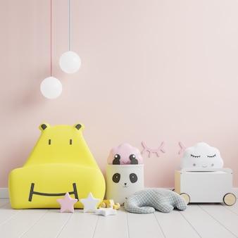 Mock up muro nella stanza dei bambini con divano giallo sullo sfondo della parete di colore rosa chiaro. rendering 3d