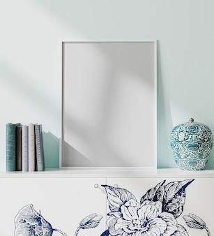 Mock up frame poster vuoto bianco in interni in stile orientale moderno con parete blu chiaro, libri e vaso di porcellana, stile giapponese, rendering 3d