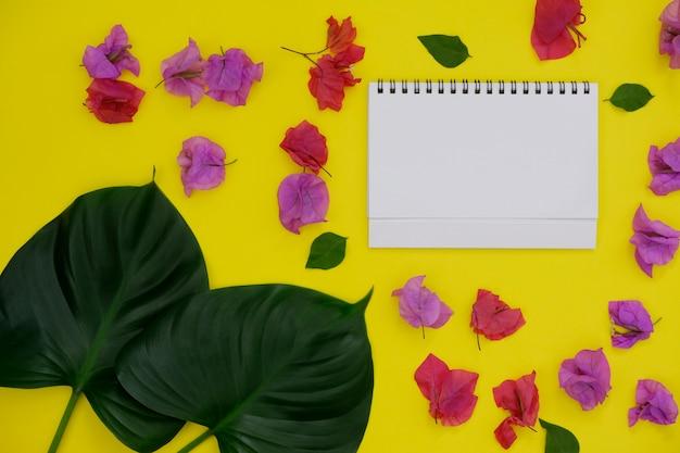 Libro bianco del modello con spazio per testo o immagine su fondo giallo e foglia e fiore tropicali.