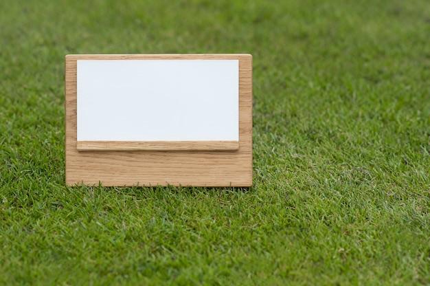 Derida sul segno di legno su fondo verde.