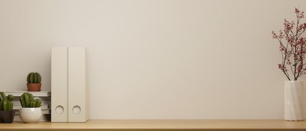 Mock up spazio di lavoro con copia spazio per la visualizzazione del prodotto piano del tavolo in legno con decor 3d rendering