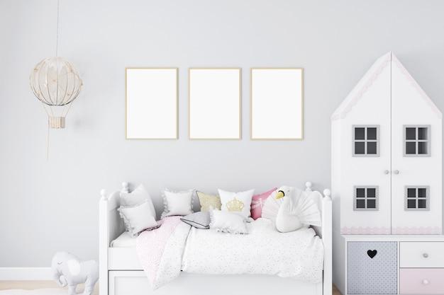 Bambini camera da letto mockup e parete grigia