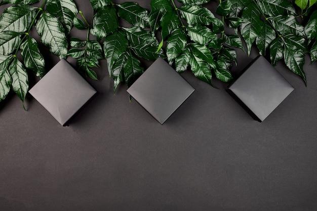 Mockup per confezione regalo nera uno sfondo scuro con foglie verdi
