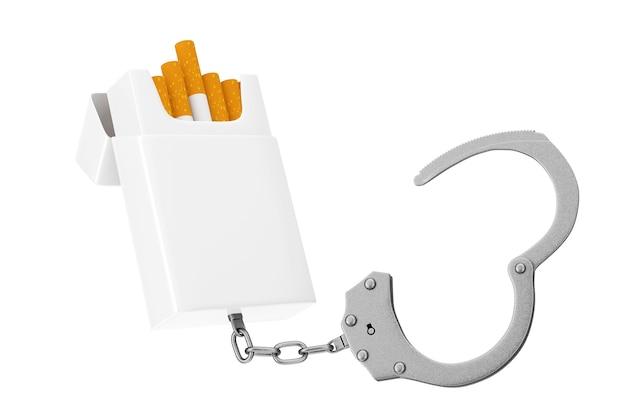 Pacchetto di sigarette vuoto mockup incatenato alle manette di metallo su sfondo bianco. rendering 3d