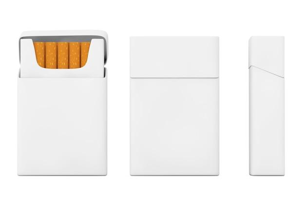 Pacchetto di sigarette vuoto mockup impostato su sfondo bianco. rendering 3d