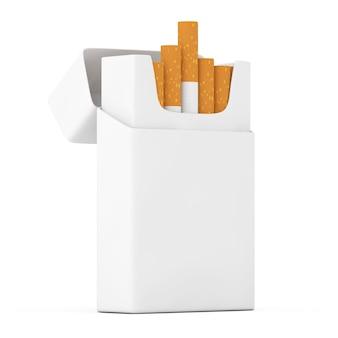 Pacchetto di sigarette vuoto mockup su sfondo bianco. rendering 3d