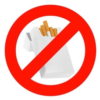 Pacchetto di sigarette vuoto mockup con segno di divieto su sfondo bianco. rendering 3d