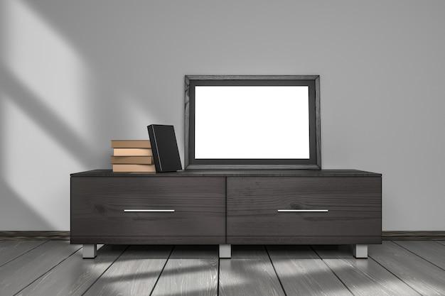 Mockup display cornice vuota e modello di libri copertina nera nel soggiorno interno grigio