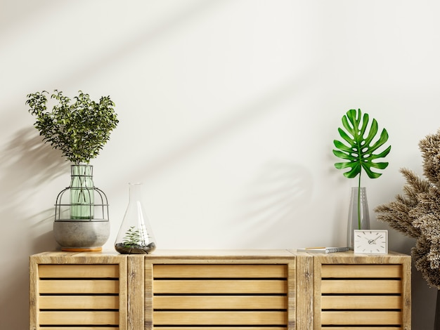 Mockup di un armadio in una stanza moderna e vuota con una parete bianca. rendering 3d