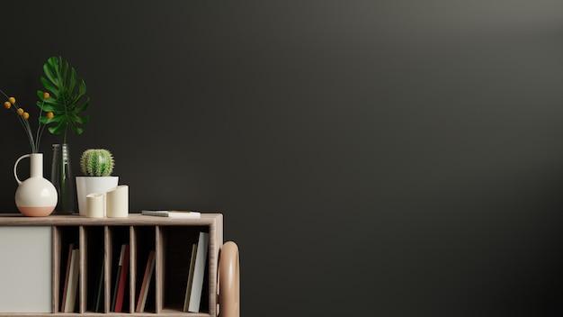 Mockup parete scura con piante ornamentali e elemento decorativo su cabinet.3d rendering