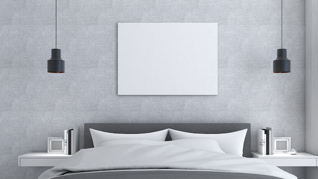 Cornice mockup su parete grigia con letto, stile loft, poster mockup, rendering 3d
