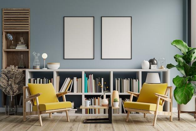 Cornice mockup di soggiorno con poltrona su parete vuota di colore azzurro, sala biblioteca. rendering 3d