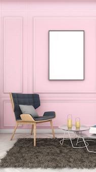 Cornice mockup su parete rosa tenue con sedia, stile moderno, poster mockup, rendering 3d