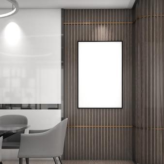 Cornice mockup su parete in legno con sedia, stile moderno, poster mockup, rendering 3d
