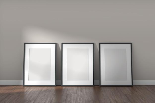 Cornici mockup su stanza bianca vuota con parete trasparente e pavimento in legno. stile minimal moderno. rendering 3d.