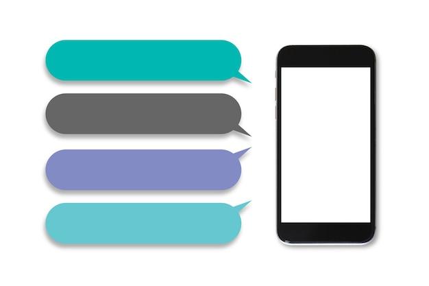 Schermata bianca vuota del telefono cellulare mockup con spazio sinistro della finestra di dialogo, sfondo bianco.