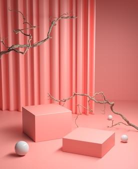 Mockup podio rosa con ramoscelli asciutti e rendering 3d di sfondo tenda pulita