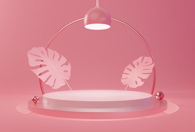Forma geometrica del podio del mockup su sfondo di colore pastello rosa per la presentazione del prodotto