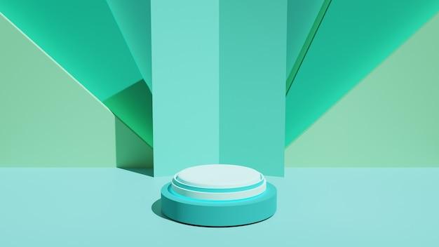 Mockup podio per la presentazione del prodotto, rendering 3d di geometria astratta ciano, illustrazione 3d