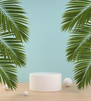 Mockup podio sul pavimento in legno e foglia di palma tropicale sfondo astratto rendering 3d