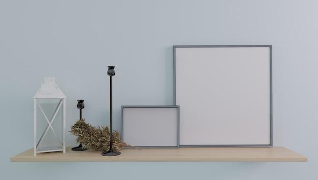 Cornice per poster mockup da vicino in interni moderni e minimalisti