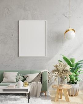 Mockup poster frame in interni moderni sfondo, muro di cemento, rendering 3d