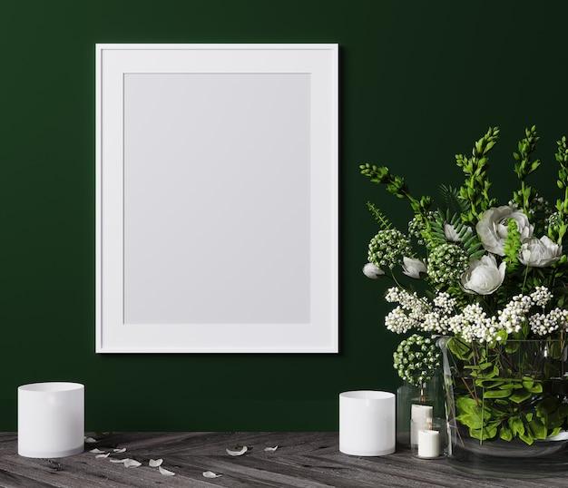Mockup poster verticale cornice da vicino con fiori bianchi e candele 3d render
