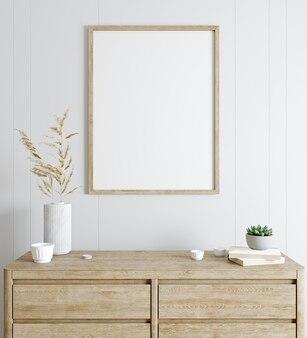 Mockup poster, sfondo bianco, porta tv con fiori e decorazioni per la casa, 3d rendering, 3d illustrazione