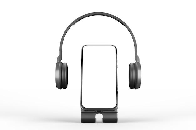 Mockup di uno smartphone su un supporto con le cuffie su sfondo bianco. rendering 3d.