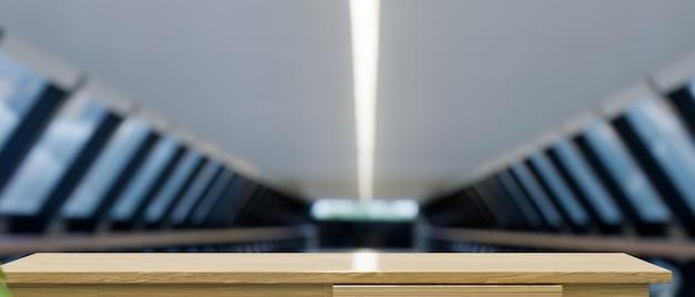 Lo spazio del modello sulla scrivania in legno da tavolo in legno ha sfocato il fondo 3d rendering