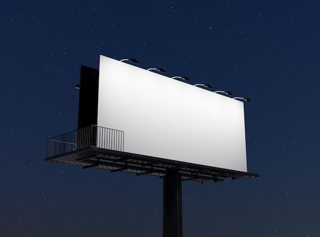 Mockup di un cartellone pubblicitario di strada illuminato con faretti di notte con cielo stellato. rendering 3d