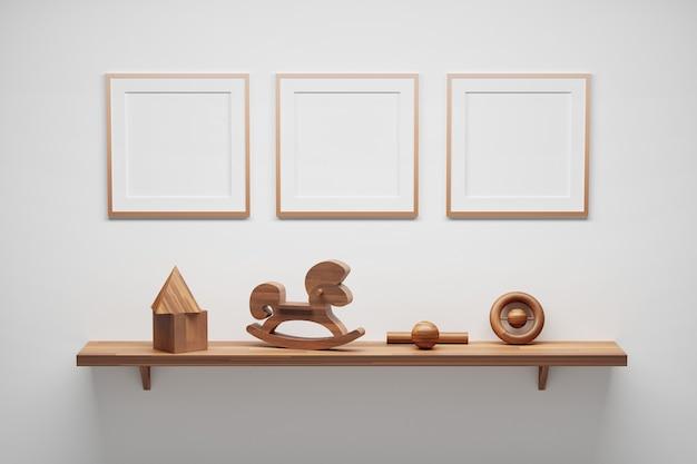 Modello di mockup con tre cornici vuote quadrate in legno e mensola con giocattoli per bambini in legno. illustrazione 3d.