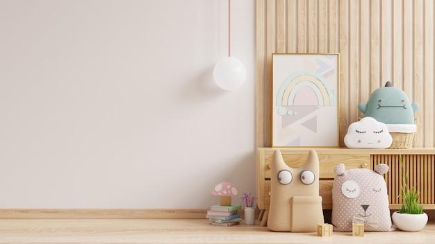 Muro di mockup nella stanza dei bambini, interno della camera da letto su sfondo di colore bianco della parete. rendering 3d