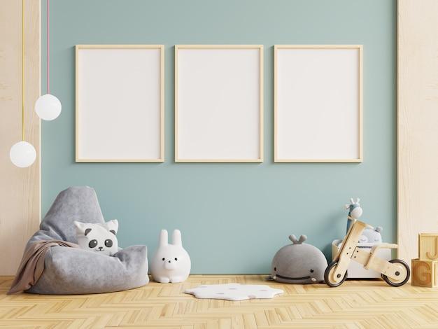 Muro di mockup nella stanza dei bambini, interno della stanza dal vivo su sfondo di colore blu della parete. rendering 3d