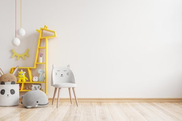 Mockup di muro nella stanza dei bambini sui colori della parete bianca. rendering 3d