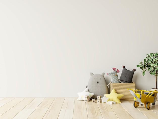 Muro di mockup nella stanza dei bambini su sfondo di colori bianchi della parete. rendering 3d