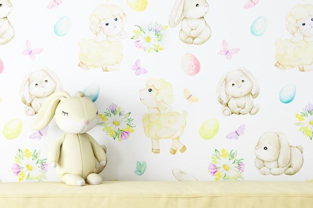 Muro di mockup nella stanza dei bambini su sfondo per bambini di carta da parati